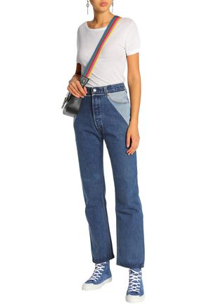 RE/DONE with LEVI'S Paneled distressed high-rise straight-leg jeans