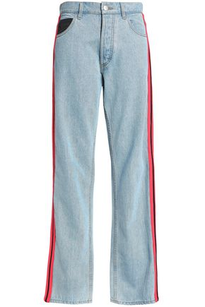 KOCHÉ All The Colors striped high-rise straight-leg jeans