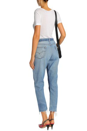 RE/DONE with LEVI'S Distressed two-tone mid-rise slim-leg jeans