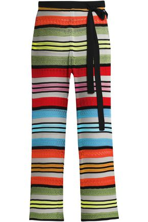 MARY KATRANTZOU Rego striped pointelle-knit kick-flare pants