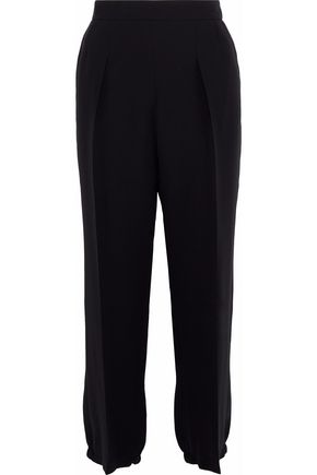 GIORGIO ARMANI Pleated silk-crepe straight-leg pants