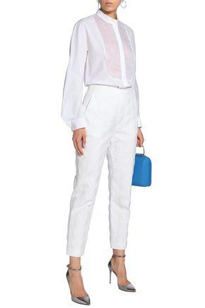 DELPOZO Cotton-blend jacquard tapered pants