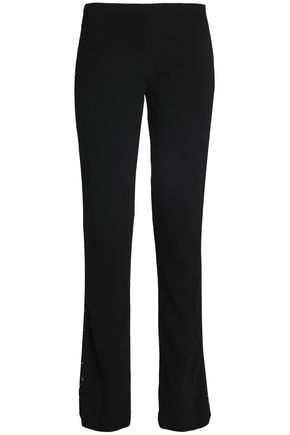 GALVAN  London Paneled corded lace and crepe straight-leg pants