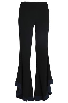 GALVAN  London Two-tone crepe flared pants