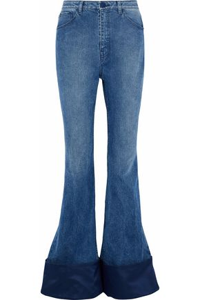 BRANDON MAXWELL Duchesse satin-paneled high-rise flared jeans