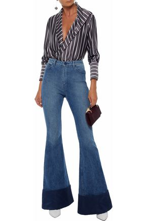 BRANDON MAXWELL Duchesse satin-paneled high-rise flared jeans