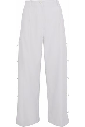 GIORGIO ARMANI Cropped knotted crepe wide-leg pants