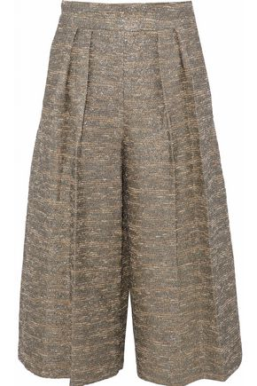ALICE + OLIVIA Metallic cotton-blend bouclé-tweed culottes