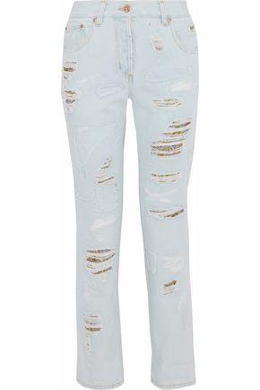 ROBERTO CAVALLI Brocade-paneled distressed mid-rise boyfriend jeans