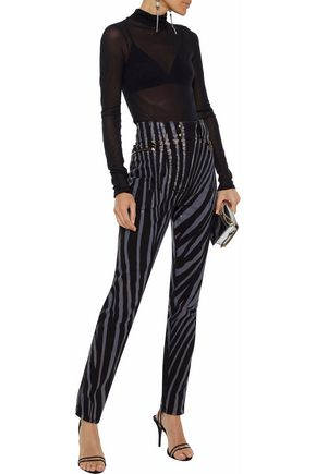 ROBERTO CAVALLI Zebra-print high-rise skinny jeans