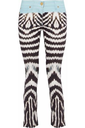 ROBERTO CAVALLI Cropped printed low-rise skinny jeans
