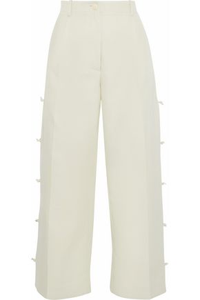 GIORGIO ARMANI Cropped knotted cotton and silk-blend wide-leg pants