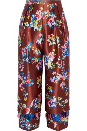 DELPOZO Cropped embellished floral-print silk-satin twill straight-leg pants