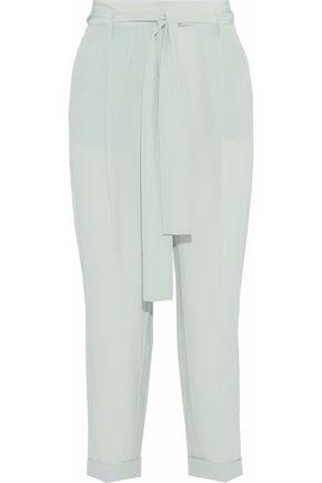 ROBERTO CAVALLI Tie-front silk crepe de chine tapered pants
