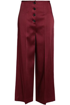 JOSEPH Button-detailed satin-crepe wide-leg pants