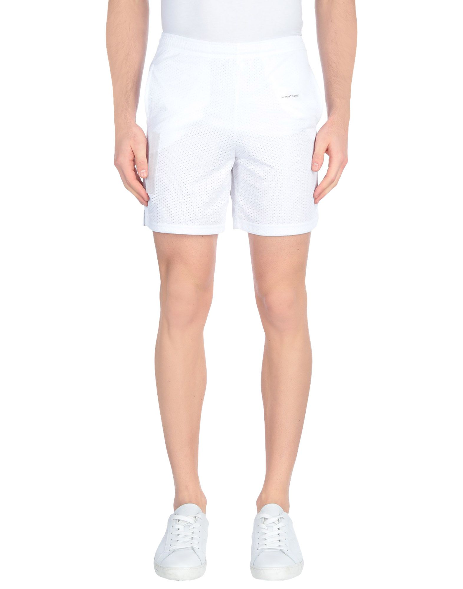 OFF-WHITE™ Bermudas. jersey, openwork, logo, basic solid color, high waisted, comfort fit, drawstring closure, multipockets, fully lined, sporty. 100% Polyester