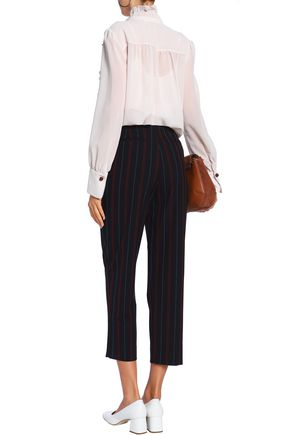 SEE BY CHLOÉ Cropped striped crepe tapered pants