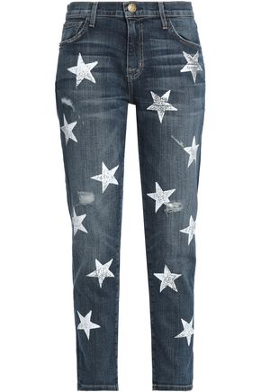 CURRENT/ELLIOTT Distressed printed high-rise slim-leg jeans
