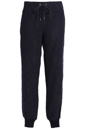SEE BY CHLOE | See By Chloé Woman Pointelle-knit Tapered Pants Navy | Goxip