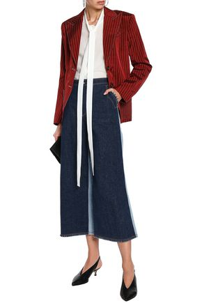 SONIA RYKIEL Two-tone frayed high-rise wide-leg jeans