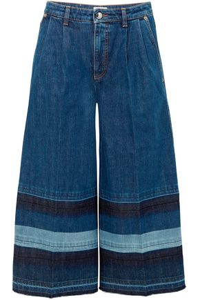 SONIA RYKIEL Patchwork cropped striped denim culottes