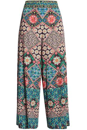 ALICE + OLIVIA Cropped printed satin wide-leg pants
