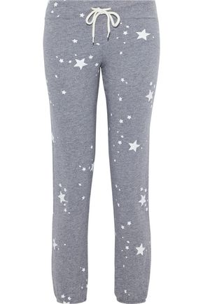 MONROW Printed mélange French terry track pants