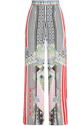 CAMILLA Embellished printed silk wide-leg pants