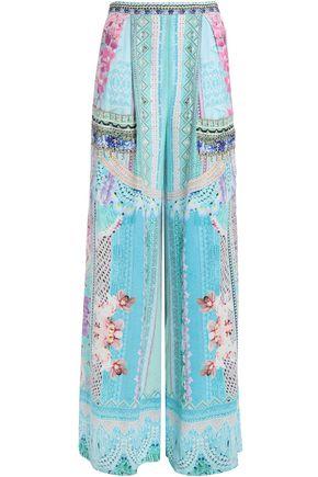 CAMILLA Shades Of Rio embellished printed silk crepe de chine wide-leg pants