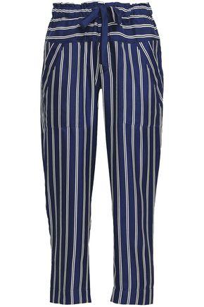 JOIE Striped silk-twill straight-leg pants