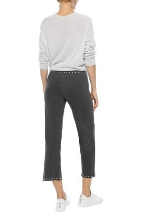 MONROW Cropped studded French terry track pants