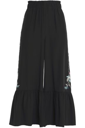 VILSHENKO Fluted embroidered silk culottes