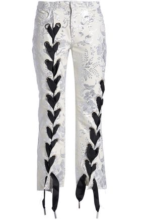 MARQUES' ALMEIDA Lace-up cropped brocade bootcut pants