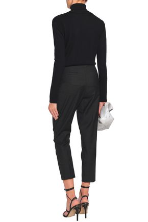 IRO Cropped pinstriped brushed-wool tapered pants
