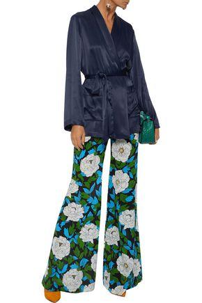 DIANE VON FURSTENBERG Floral-print silk crepe de chine wide-leg pants