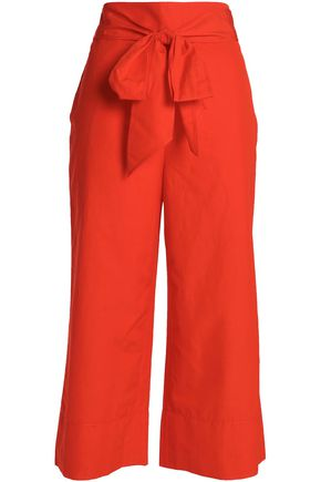 KATE SPADE New York Belted cotton and linen-blend culottes