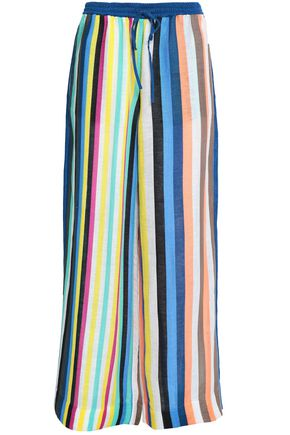 DIANE VON FURSTENBERG Striped linen-blend wide-leg pants