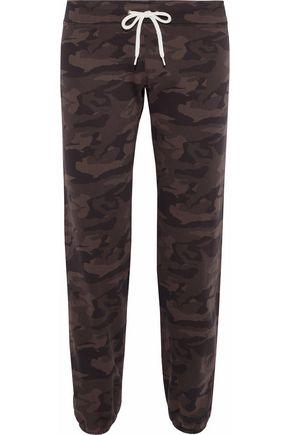 MONROW Printed cotton-fleece track pants