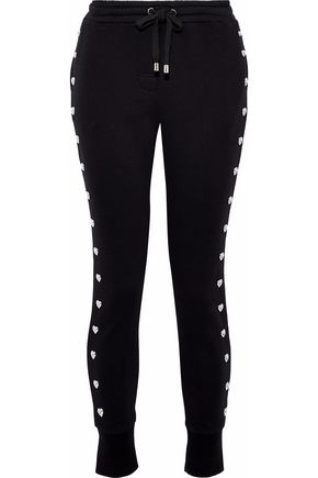 ZOE KARSSEN Studded French cotton-terry track pants