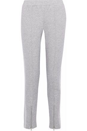 W118 by WALTER BAKER Francie lamé-paneled mélange cotton-blend terry track pants