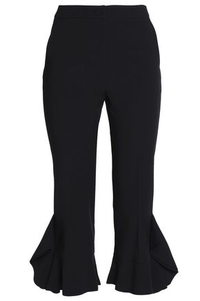 GOEN.J Ruffle-trimmed stretch-crepe kick-flare pants