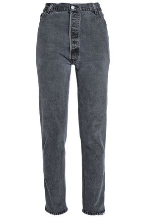 RE/DONE by LEVI'S Zip-embellished high-rise straight-leg jeans