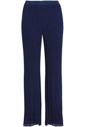 MISSONI Metallic ribbed-knit wide-leg pants