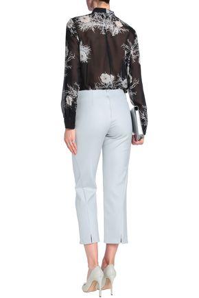 GIORGIO ARMANI Cropped silk-blend crepe straight-leg pants