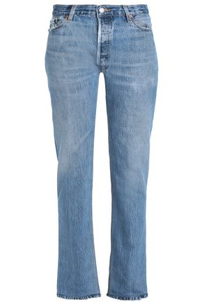 RE/DONE by LEVI'S Frayed distressed mid-rise straight-leg jeans