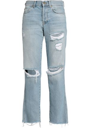 7 FOR ALL MANKIND Frayed distressed high-rise boyfriend jeans