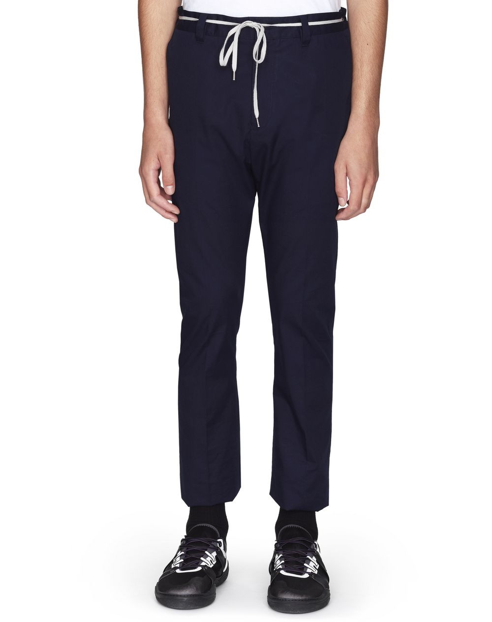 DARK BLUE FITTED DRAWSTRING PANTS - Lanvin