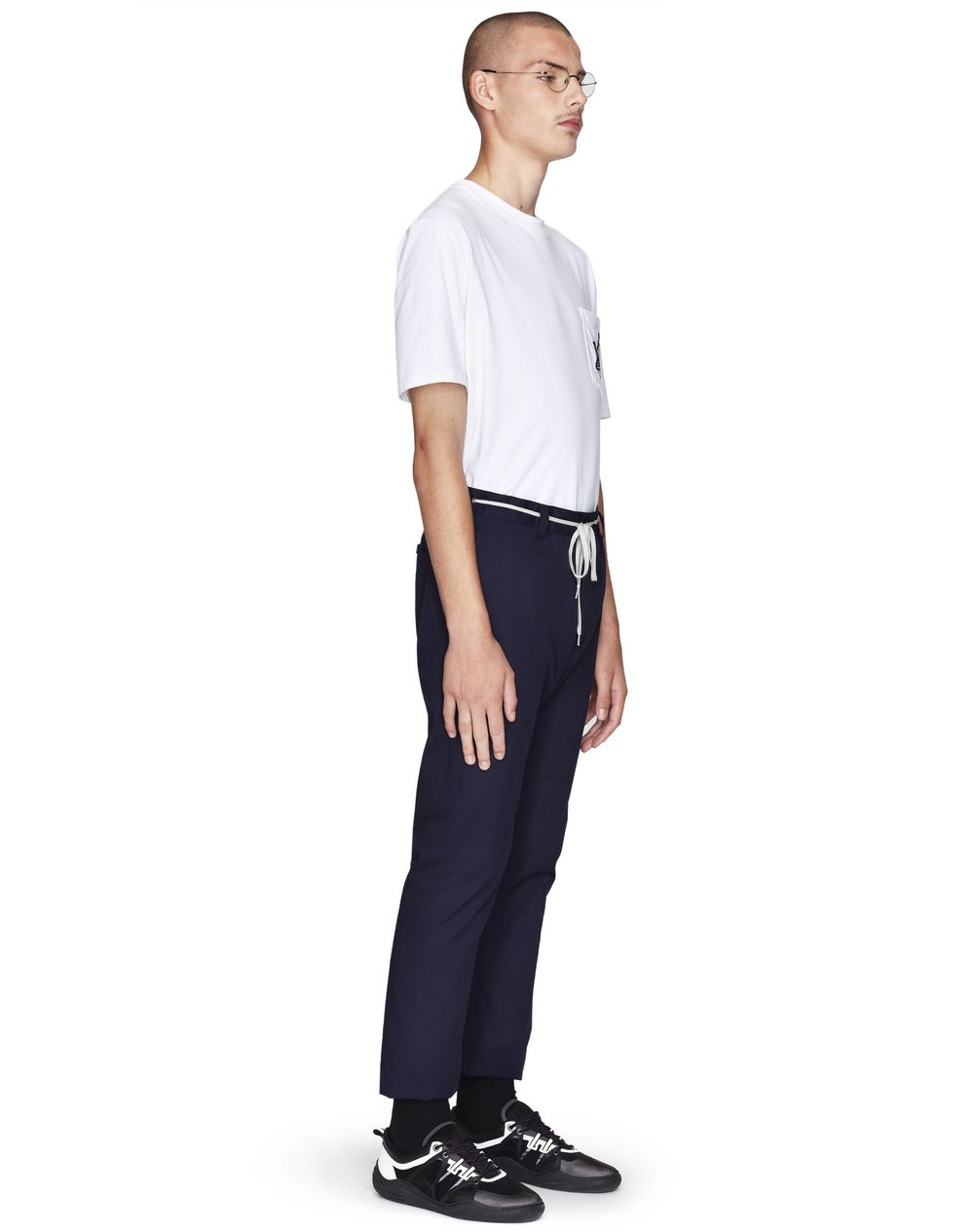 DARK BLUE FITTED DRAWSTRING TROUSERS - Lanvin