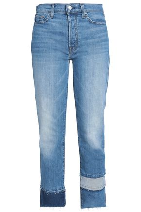 7 FOR ALL MANKIND Vintage Blue Dunes paneled high-rise straight-leg jeans