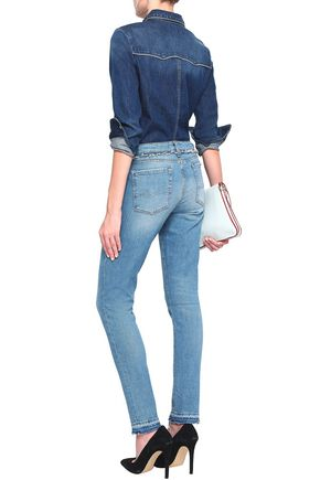 7 FOR ALL MANKIND Pyper frayed mid-rise skinny jeans